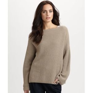 VINCE Ribbed Chunky Boatneck Yak/Wool Sweater - XS